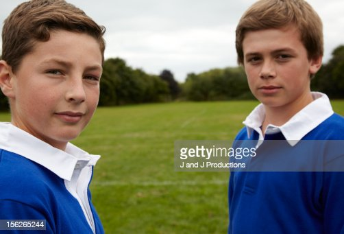 Portrait of two boys : Foto de stock