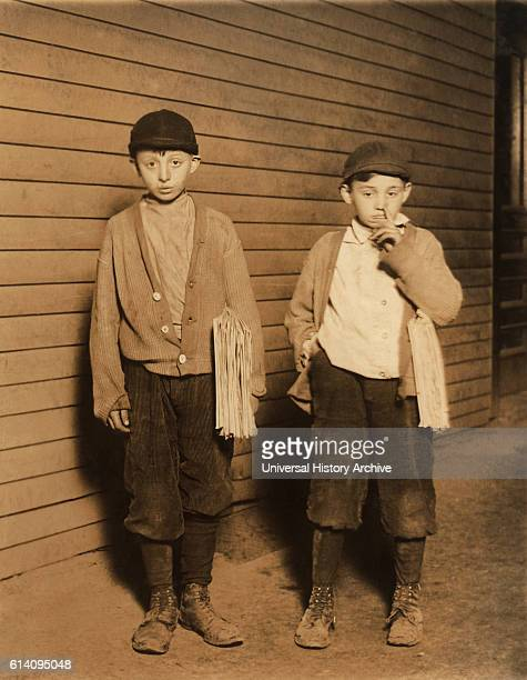 Portrait of Two Brothers Harry Becker 12 years Max Becker 9 years Selling Newspapers until 9pm Lawrence Massachusetts USA circa 1910