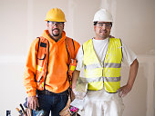 Portrait of two construction worker
