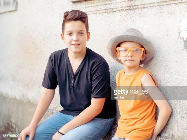Portrait of two cute European boys