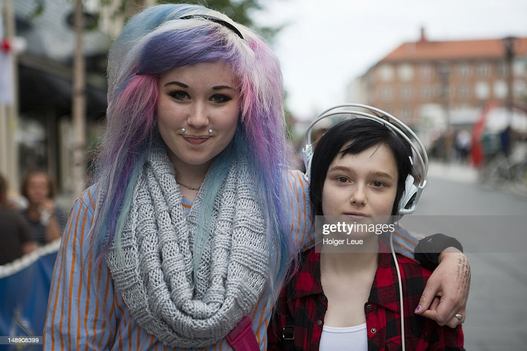 Portrait of two fashionable girls. : Stock Photo