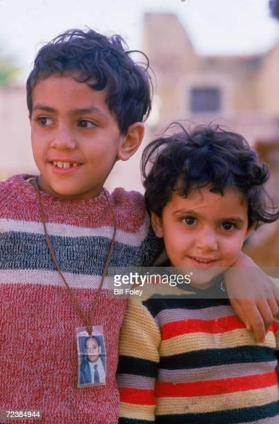 Portrait of two Lebanese children in wartorn Beirut
