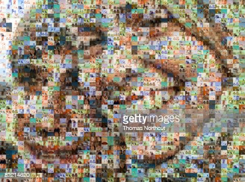 Portrait of two people made out of family imagery