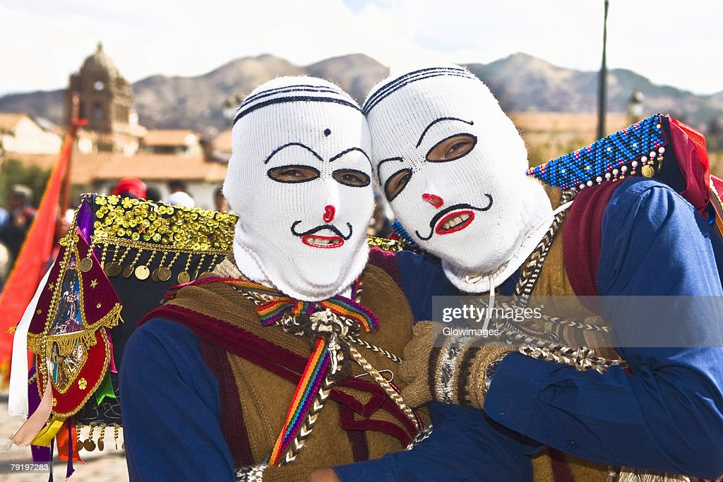 Portrait of two people wearing traditional costumes, Cuzco, Peru : Stock Photo