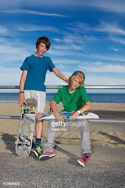 Portrait of two skateboarding friends