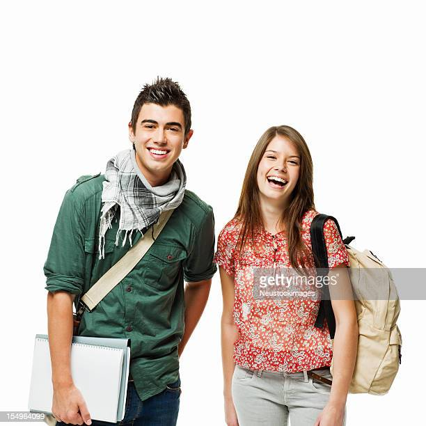 Portrait of Two Teenage Students - Isolated