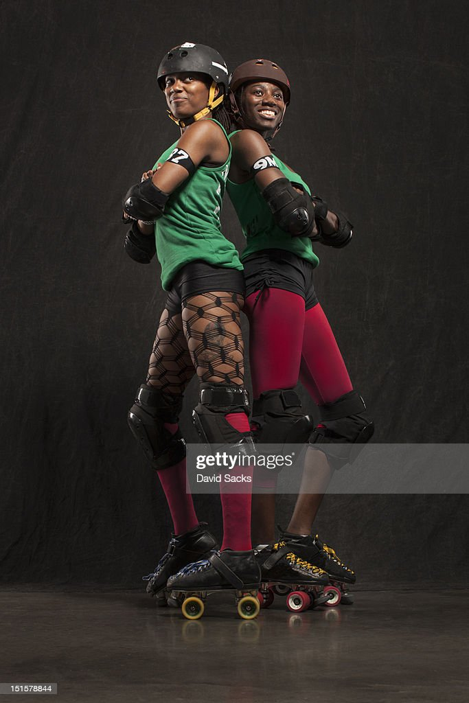 Portrait of two women in skates : Stock Photo