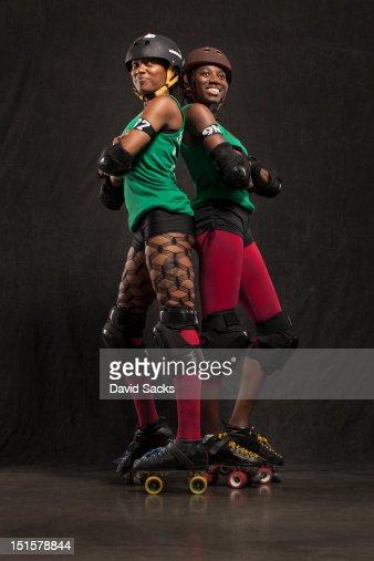 Portrait of two women in skates : Stock Photo