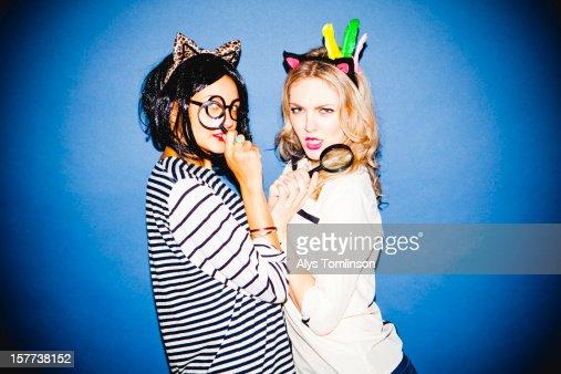 Portrait of two young women in fancy dress : Stock-Foto