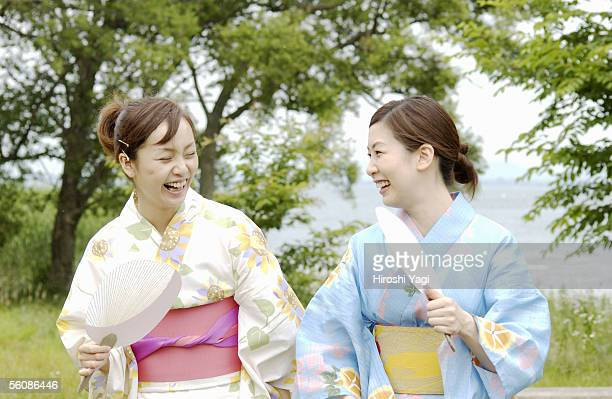 Portrait of Two young women in kimono