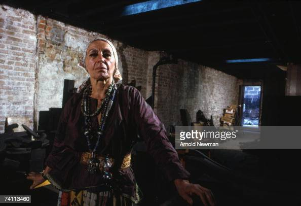 Portrait of Ukranianborn American sculptor Louise Nevelson in her Soho studio New York New York July 20 1973