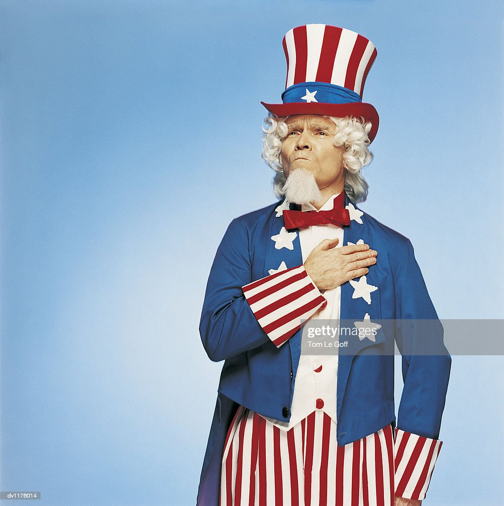 Portrait of Uncle Sam Swearing the Pledge of Allegiance