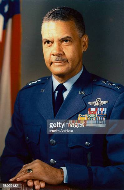 Portrait of United States Air Force Lieutenant General Benjamin O Davis Jr a commmander of the famed Tuskegee Airmen during the Second World War...