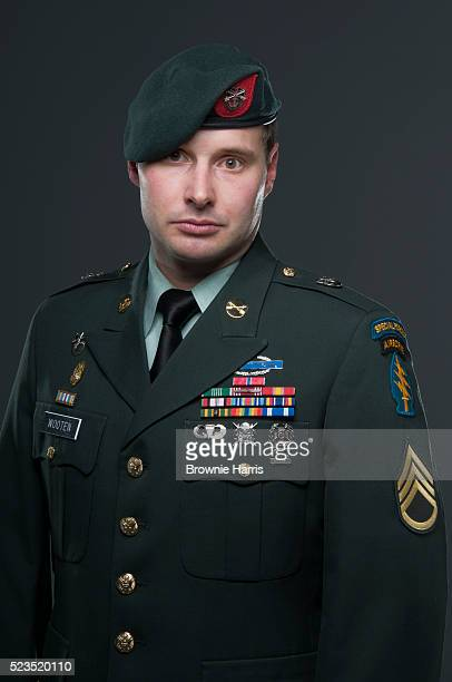 Portrait of United States Army Airborne Special Forces soldier in military uniform