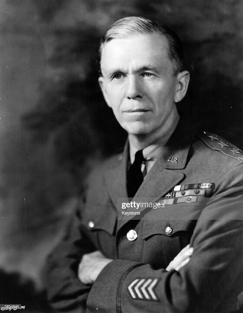 Portrait of United States Army General George Catlett Marshall (1880 - 1959), American chief of staff and later Secretary of State who was awarded the Nobel Prize for Peace in 1953.