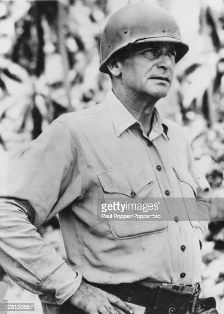 Portrait of United States Marine Harry B Liversedge commanding officer of the 28th Marine Regiment that battled to the crest of Mount Suribachi...