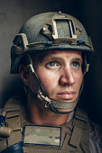 Portrait of United States Marine on patrol.