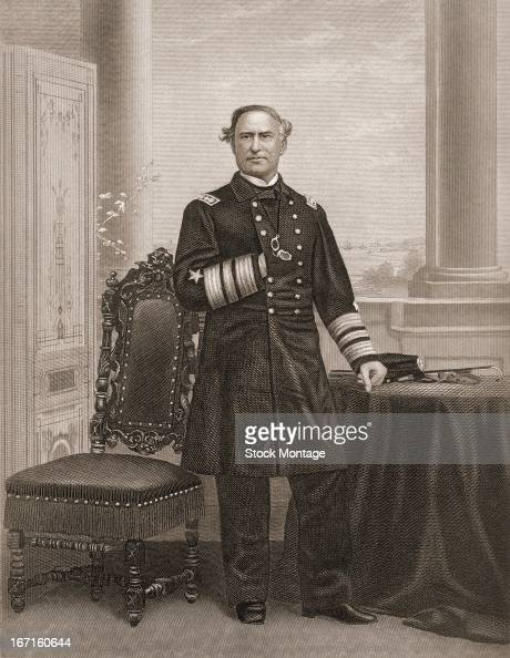 Portrait of United States naval commander David Glasgow Farragut as he stands next to a table mid to late 19th century The map hanging over the edge...