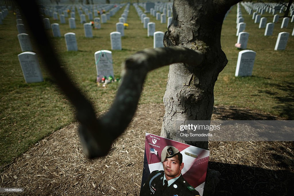 A portrait of U.S. Army Sgt. Alessandro L. Plutino rests against a tree in Section 60 at Arlington National Cemetery March 19, 2013 in Arlington, Virginia. March 20th marks the ten-year anniversary of the beginning of the war in Iraq. U.S. Army Sgt. Alessandro L. Plutino served with the 1st Battalion, 75th Ranger Regiment, United States Army during Operation Enduring Freedom in Afghanistan, where he died.