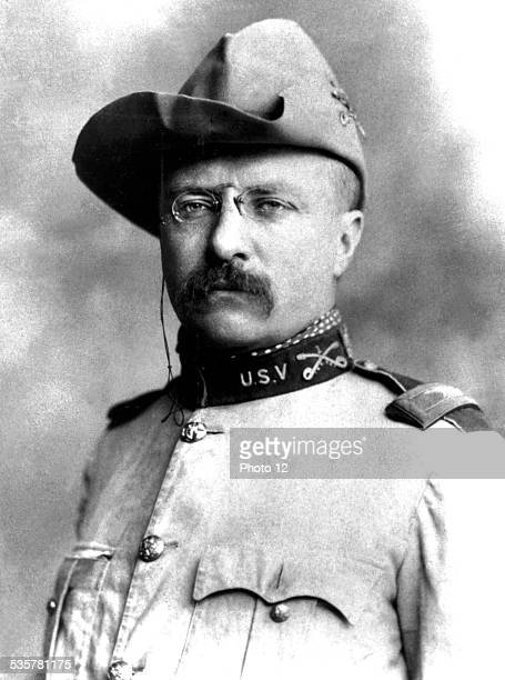 Portrait of US President Theodore Roosevelt in his Colonel uniform 1920th centuries United States