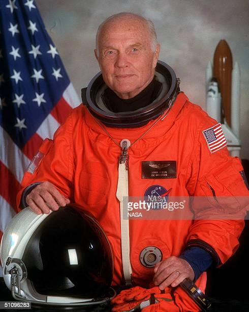 Portrait Of US Senator John H Glenn Jr Payload Specialist For Space Shuttle Sts95 Glenn Is Wearing The Orange Partial Pressure Launch And Entry Suit