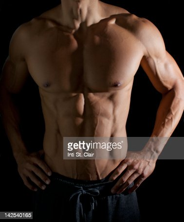 Portrait of very physically fit man : Stock Photo