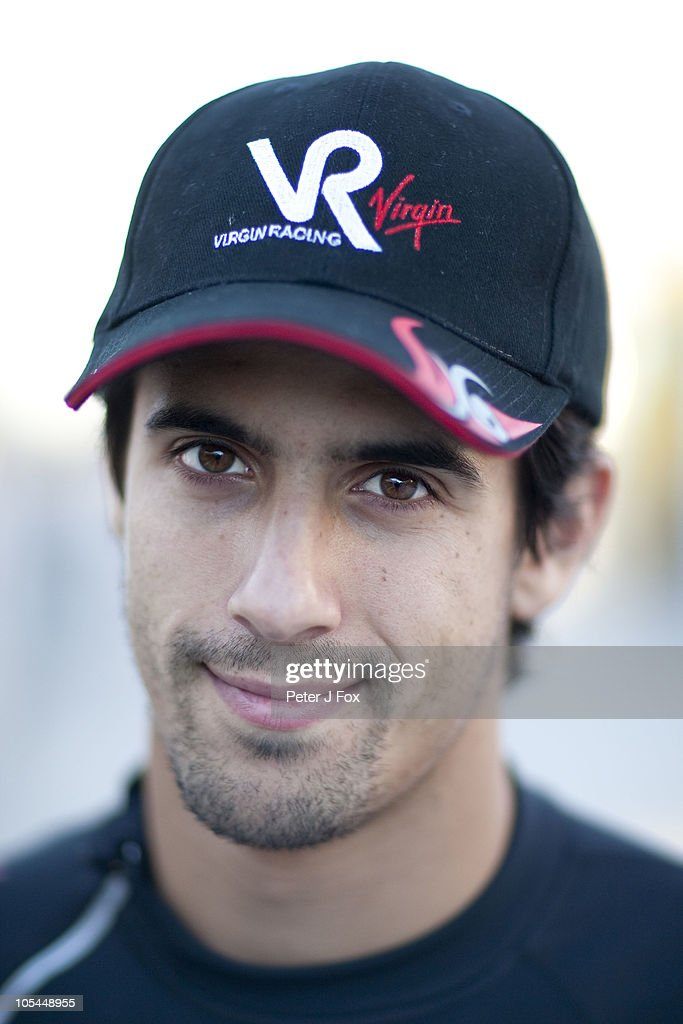 Portrait of Virgin Racing driver <a gi-track='captionPersonalityLinkClicked' href=/galleries/search?phrase=Lucas+di+Grassi&family=editorial&specificpeople=4237493 ng-click='$event.stopPropagation()'>Lucas di Grassi</a> of Brazil taken during a portrait session held on October 1, 2010.