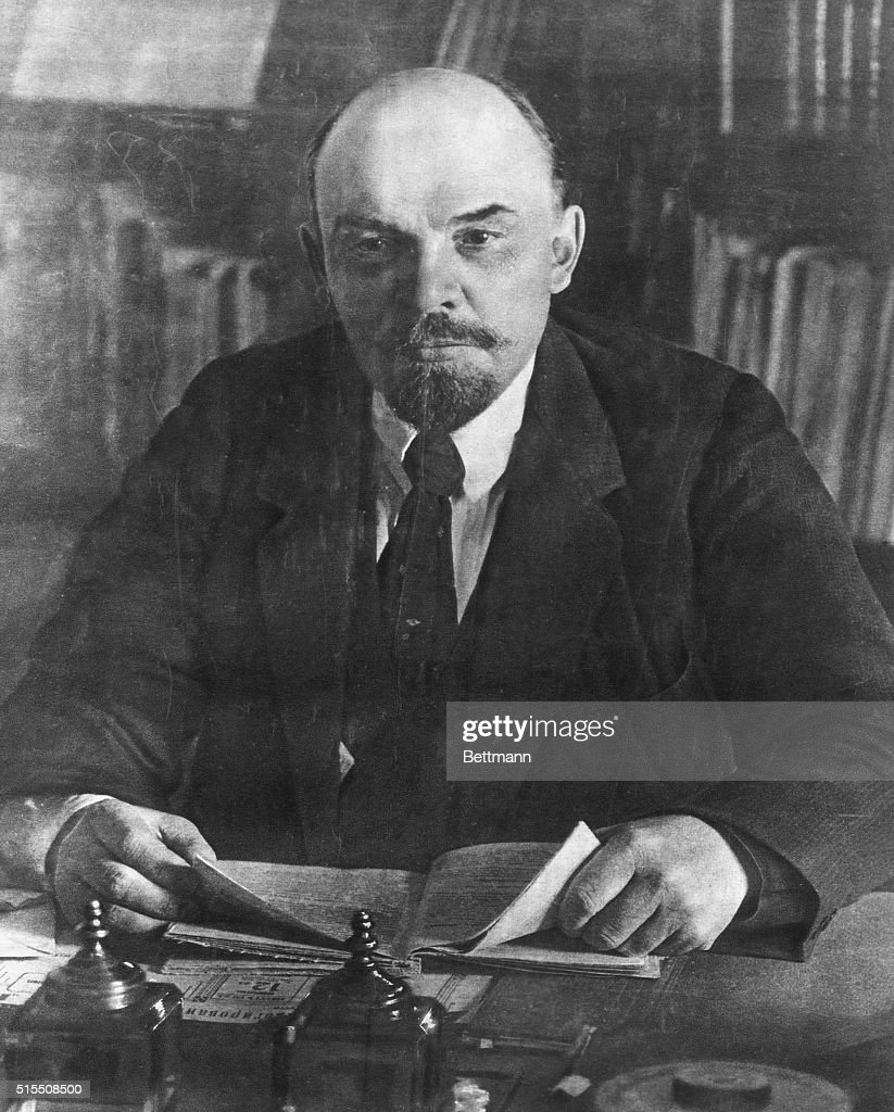 Portrait of Vladimir I. <a gi-track='captionPersonalityLinkClicked' href=/galleries/search?phrase=Lenin&family=editorial&specificpeople=77725 ng-click='$event.stopPropagation()'>Lenin</a> (1870-1924), Russian Communist leader in his Kremlin office. Undated photograph.