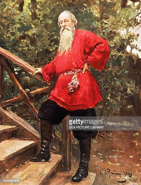 Portrait of Vladimir Vasilievich Stasov or Stassov Russian art critic and journalist Painting by Il'ja Efimovic Repin oil on canvas 40x376 cm Mosca...