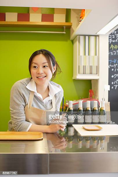 Portrait of waitress, looking away