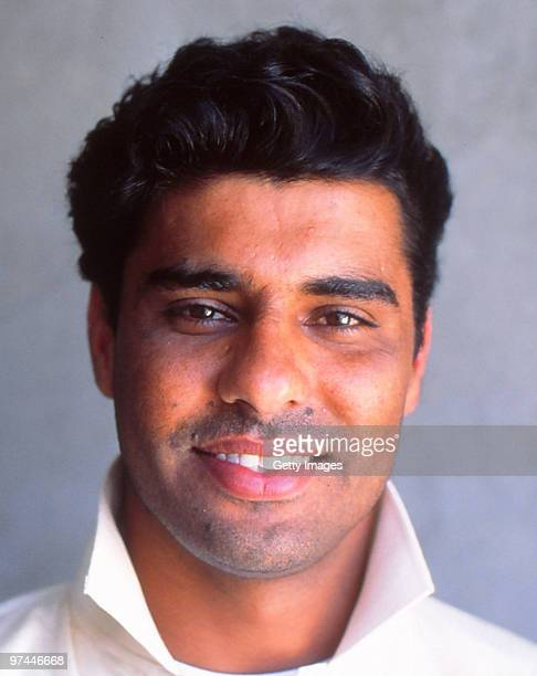 A portrait of Waqar Younis of Pakistan