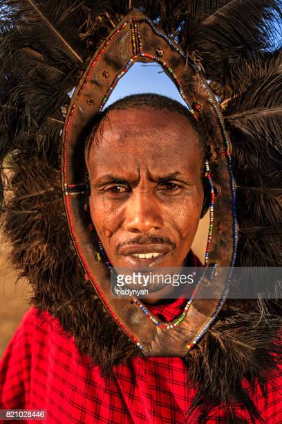 Portrait of warrior from Maasai tribe, Kenya, Africa