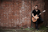 Portrait of Welsh musician James Dean Bradfield best known as the guitarist and vocalist with indie rock group Manic Street Preachers photographed in...