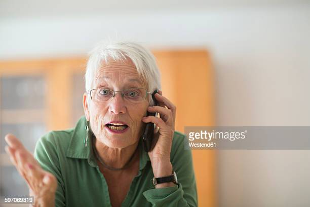 Portrait of white haired senior woman telephoning at home