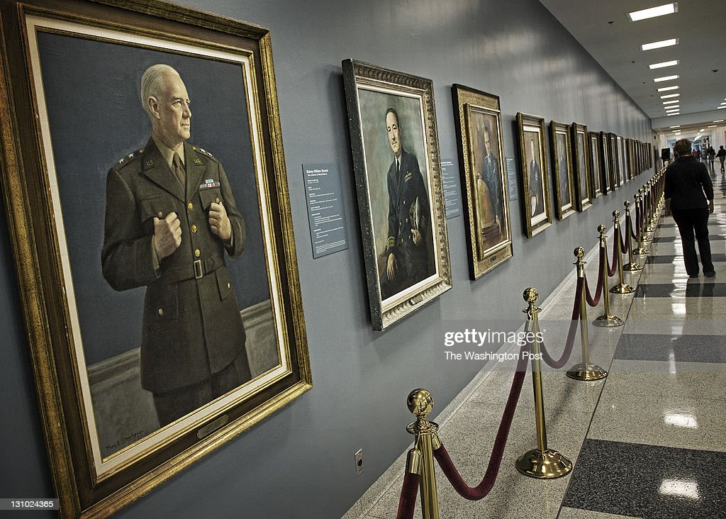A portrait of William Donovan considered the father of American intelligence is the first in a long line of Director's portrats on a wall in the...