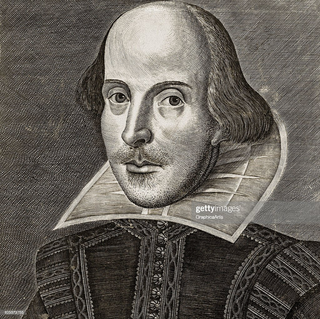 Portrait of William Shakespeare from the title page of the First Folio of Shakespeare's plays; copper engraving by Martin Droeshout, 1623. One of the earliest portraits of Shakespeare.