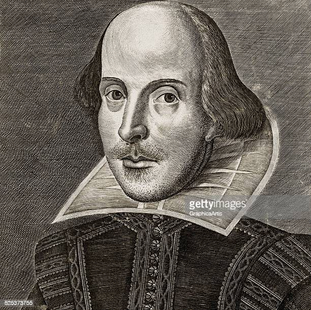 Portrait of William Shakespeare from the title page of the First Folio of Shakespeare's plays copper engraving by Martin Droeshout 1623 One of the...