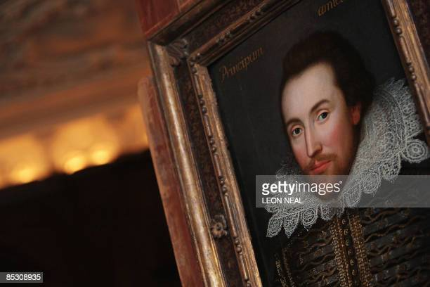 A portrait of William Shakespeare is pictured in London on March 9 2009 The portrait painted in 1610 is believed to be the only surviving picture of...
