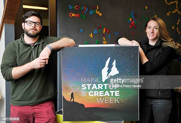 Portrait of William Sullivan left and Kate Curran founders of Crowd Funding with their logo boxes