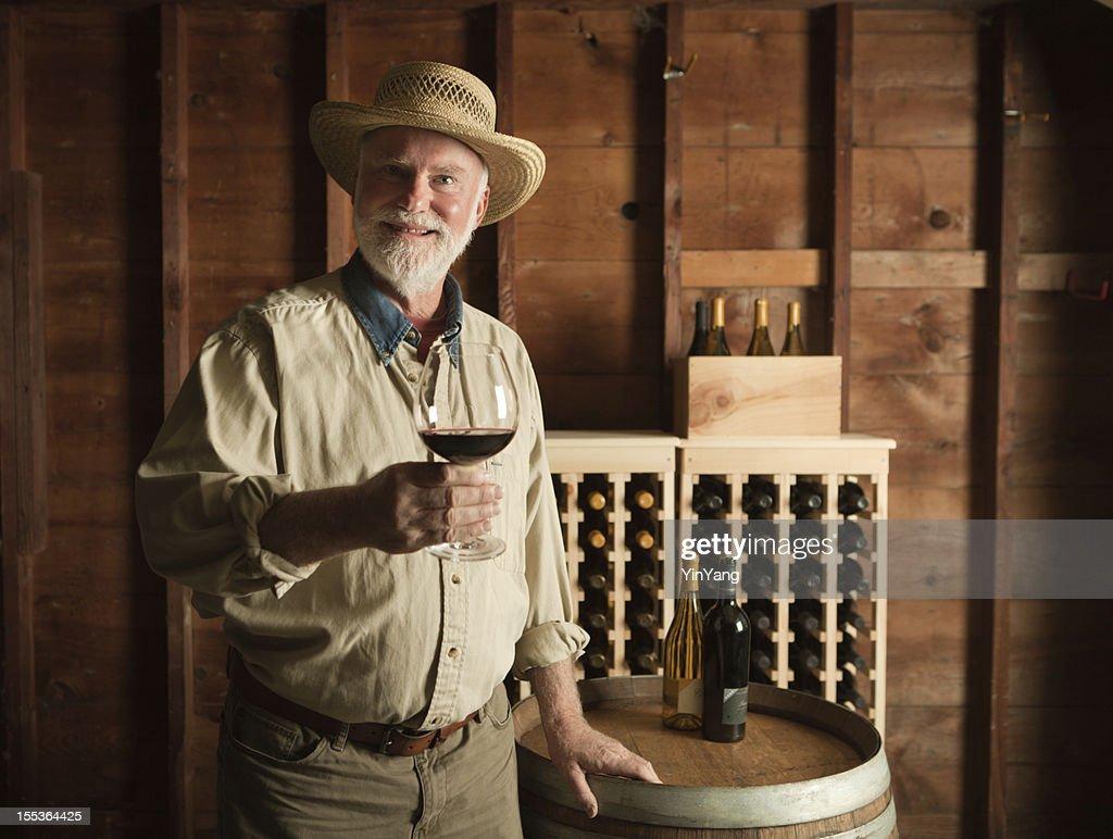 Portrait of WineMaker Vintner Tasting in the Cellar Hz : Stock Photo
