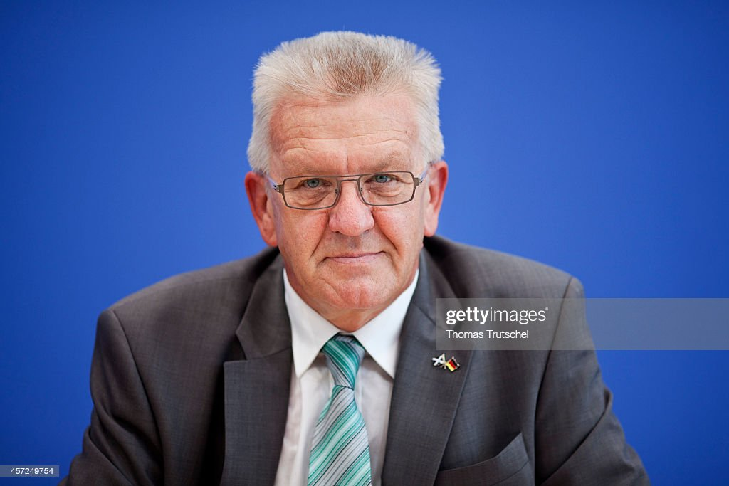 Portrait of <a gi-track='captionPersonalityLinkClicked' href=/galleries/search?phrase=Winfried+Kretschmann&family=editorial&specificpeople=7227897 ng-click='$event.stopPropagation()'>Winfried Kretschmann</a>, Minister-President of Baden-Wuerttemberg and member of the Alliance 90/The Greens, at the Federal press conference on August 19, 2011, in Berlin, Germany.