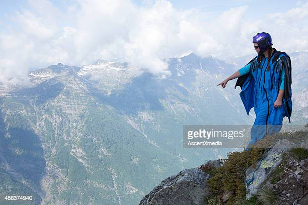 Portrait of wingsuit jumper about to launch
