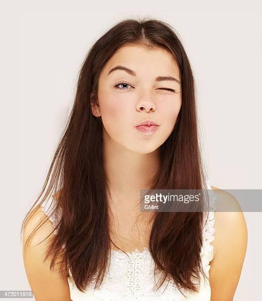 Porträt von Zwinkern Mädchen