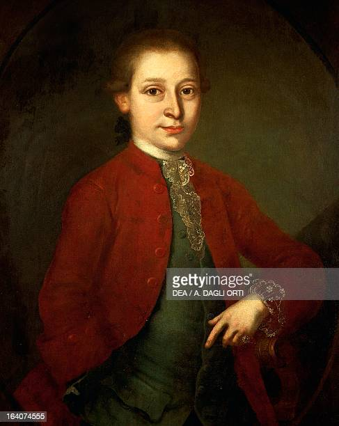 Portrait of Wolfgang Amadeus Mozart Austrian composer immortalized in the diamond ring given to him in 1762 by Empress Maria Theresa of Austria at...