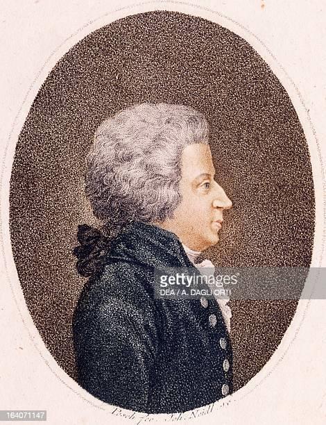 Portrait of Wolfgang Amadeus Mozart Austrian composer pianist organist and violinist Colour engraving Vienna Historisches Museum Der Stadt Wien