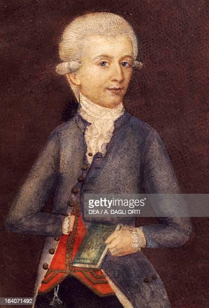 Portrait of Wolfgang Amadeus Mozart Austrian composer pianist organist and violinist Miniature by an unknown artist 1803 Vienna Historisches Museum...
