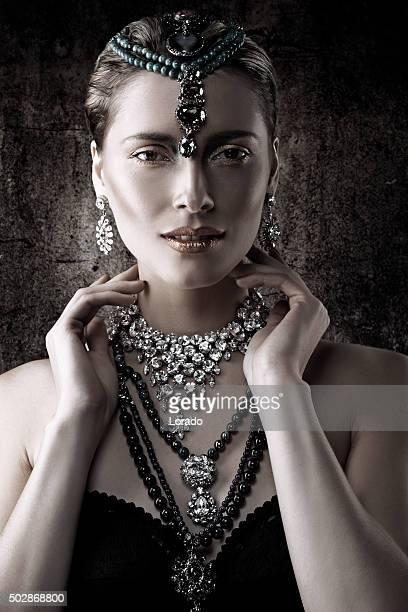 portrait of woman advertising luxury jewellery