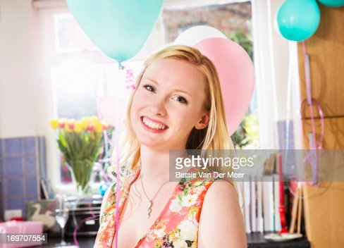 Portrait of woman at birthday party. : Stock Photo