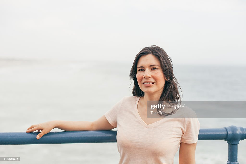 Portrait of woman at the beach : Stock Photo