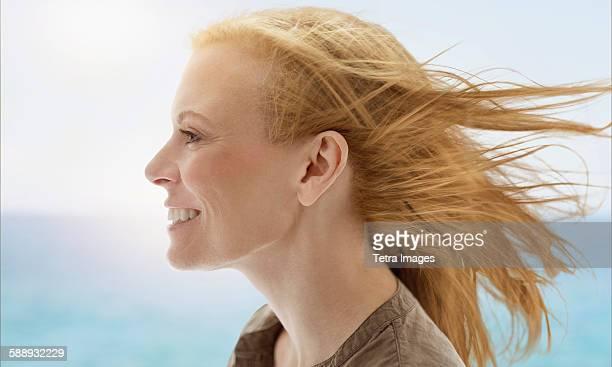 Portrait of woman by sea